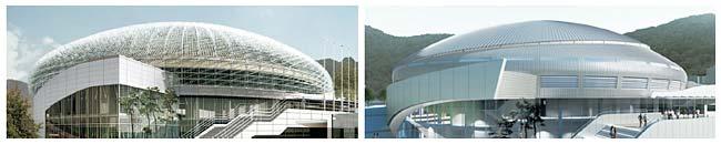 장충체육관 지붕 외장 설계가 철판에 수천 개의 철막대가 꽂힌 '고슴도치형'(왼쪽 조감도)에서 미끈한 알루미늄으로 만든 '비행접시형'(오른쪽)으로 변경됐다.