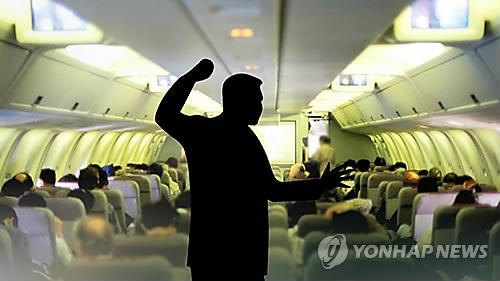 기내 소란 [연합뉴스TV 제공]