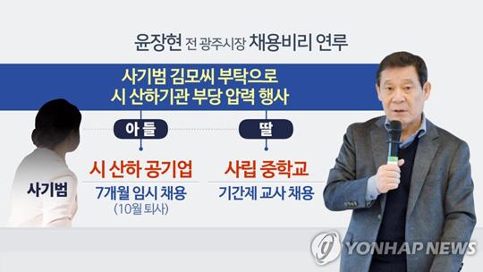 윤장현 전 광주시장 채용비리 연루 (CG) [연합뉴스TV 제공]